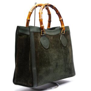 Bolsa Gucci Bamboo Couro/Camurça Verde Musgo