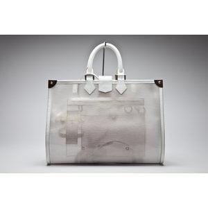 Bolsa de praia Louis Vuitton em couro com pvc branca