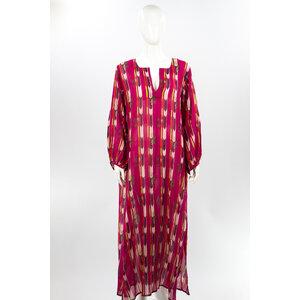 Vestido Longo IDLI em Cotton Estampado com Cinto