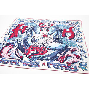 Lenço Hermès de seda estampado em tons de azuis