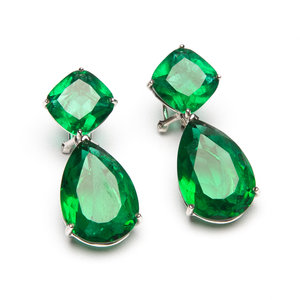 Brincos Carat Bijouteria Prata Pedra Verde