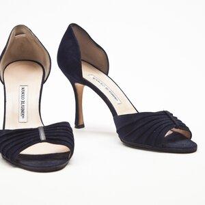 Sapato Manolo Blahnik camurça azul marinho