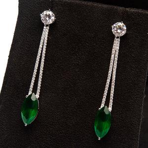 Brinco Carat Bijouteria Zirconia E Pedra Verde