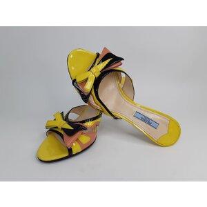 Sandália Prada Verniz Amarelo Preto Nude