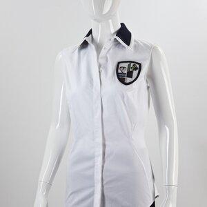 Camisa Dior sem manga branca com gola em paête preto