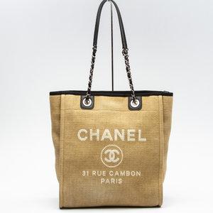 Bolsa Chanel Deauville Canvas Bege com Preto