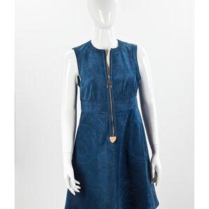 Vestido Louis Vuitton em camurça azul