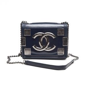 Crossbody Chanel em couro azul marinho