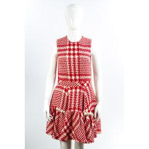 Vestido Simone Rocha Tweed Xadrex Vermelho/Branco