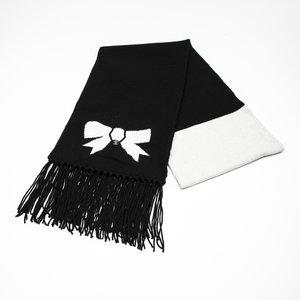 Cachecol Chanel em cashmere preto e off
