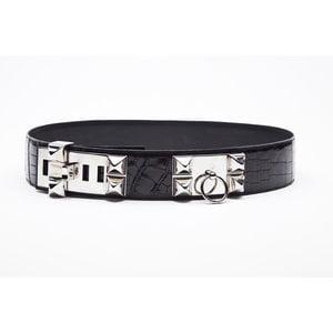 a8b1ab8da27 ... Cinto Hermès Collier Chien em Crocodilo preto