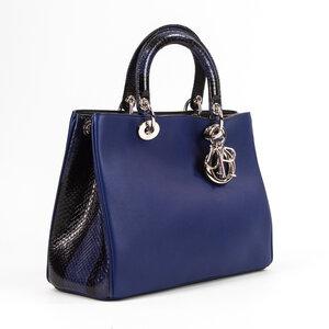 Bolsa Dior Diorissimo em Couro e Phyton Azul Marinho