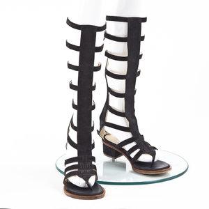 Sandalia Chanel Camurça Gladiador Preto
