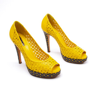 Peep Toe Lerre Couro Amarelo