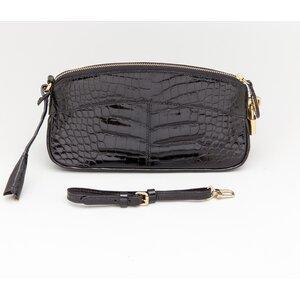 Clutch Louis Vuitton em croco preta
