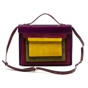 Bolsa Jamin Puech Ponyhair Roxa, Verde e Amarelo