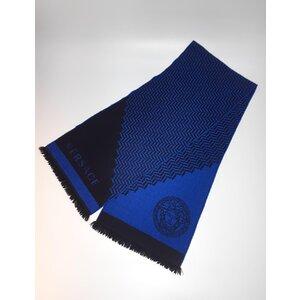 Cachecol Versace em Cashmere e Seda Azul, Preto