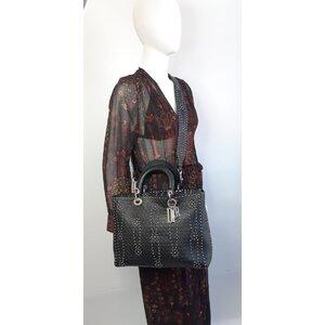 Bolsa Christian Dior Lady Di Large Couro Preta