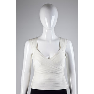 Cropped Herve Leger Strech Off White