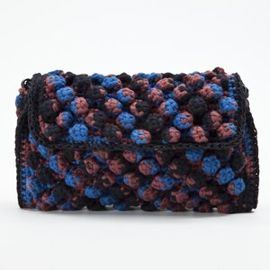 Bolsa Missoni em tecido com bolinhas me preto, azul e marrom