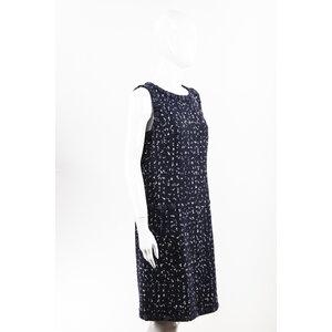 Vestido Chanel em tweed azul marinho c/branco