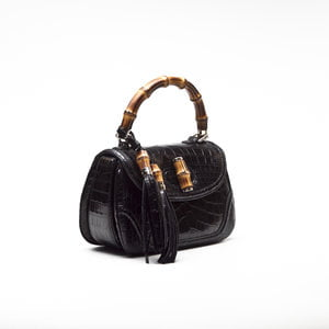 Bolsa Gucci Top Handle Bamboo Crocodilo preta