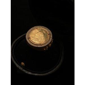 Anel Victoria Dei Gratia Moeda antiga 0,65 P de Brilhantes em ouro amarelo