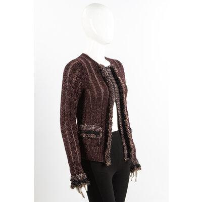 Casaco Chanel em Cashmere Tweed Marrom com Preto