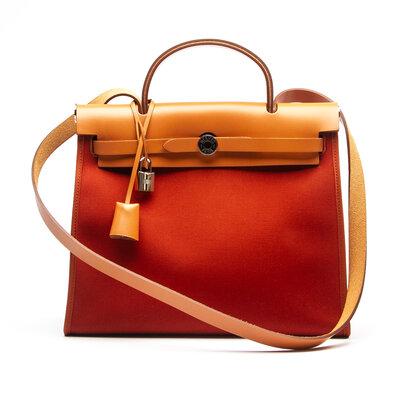 Bolsa Hermès Herbag Zip 31 em Canvas e Couro Coral