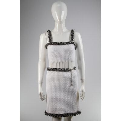Vestido Chanel com Cinto em Cotton Branco