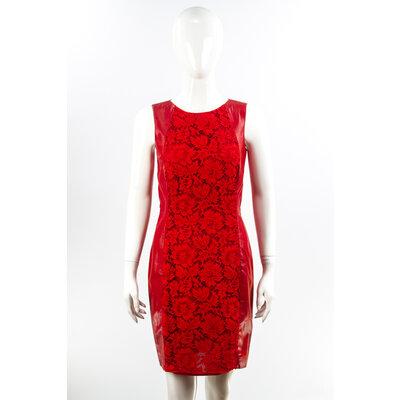 Vestido Valentino Couro/Renda Vermelho