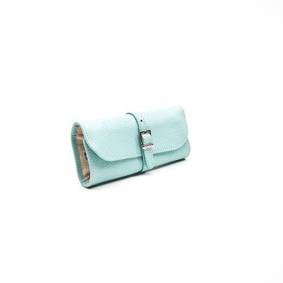 Porta Jóias Tiffani & Co Leather Roll em couro turquesa