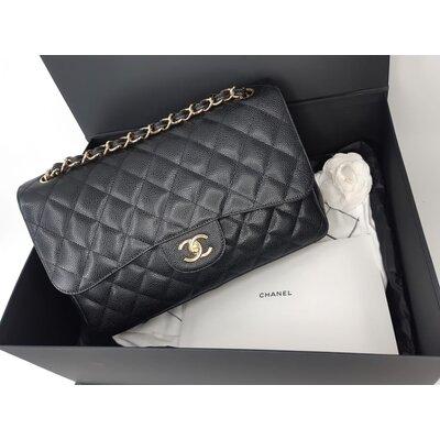 Bolsa Chanel Double Flap Jumbo Caviar Preta