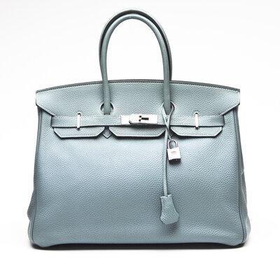 Bolsa Hérmès Birkin 35 Clemence Azul Claro