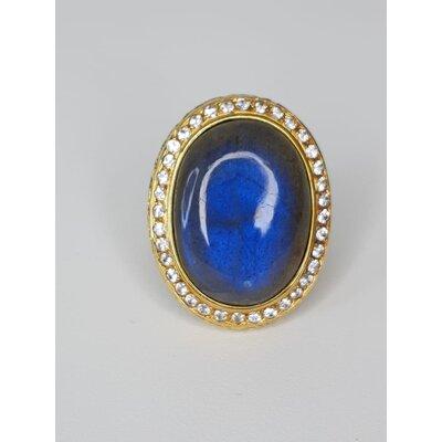 Anel Ana Rocha Appolinario de Lapis Lazuli com Safira em Ouro Amarelo