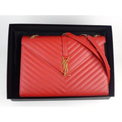 Bolsa Yves Saint Laurent Envelope em Couro Vermelha
