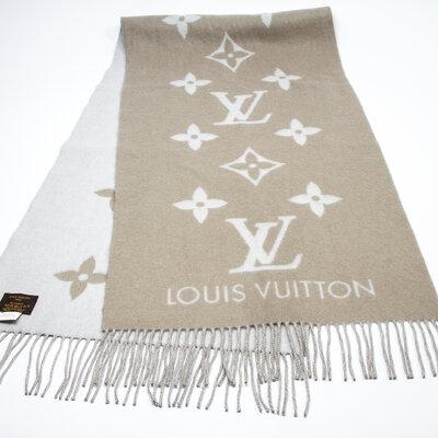 Cachecol C/Franja Louis Vuitton Cashmere Cinza Monograma