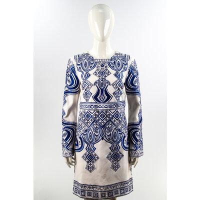 Vestido Valentino manga comprida em Crepe com Bordado Azul/Branco