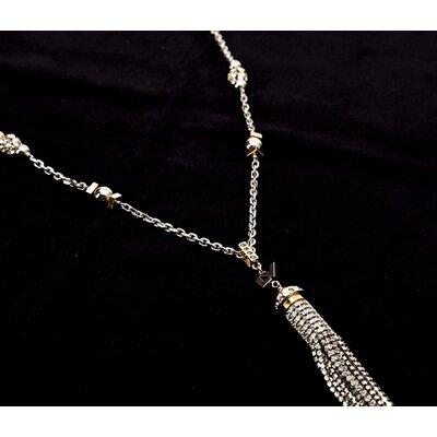 Colar Louis Vuitton longo em prata com dourado