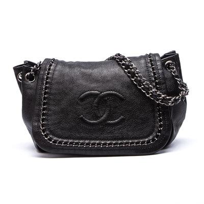 Bolsa Chanel Accordion Couro Preta