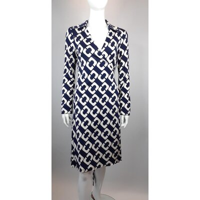 Vestido Diane Von Furstenberg Seda Estampado Off e Azul