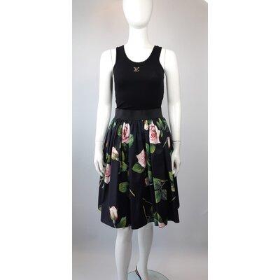 Saia Dolce & Gabbana Cotton Estampa Rosas com Preto