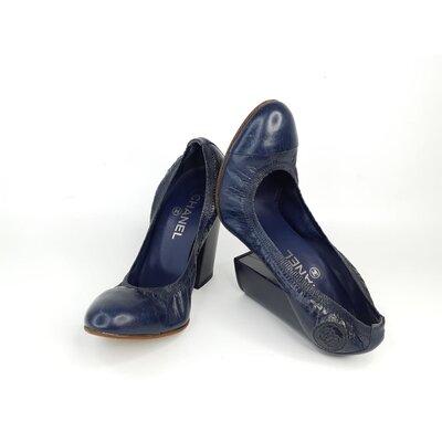 Sapato Chanel Couro Azul Marinho