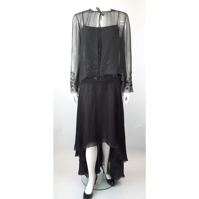 Vestido Longo Chanel Musseline Preto