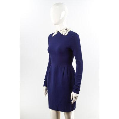 Vestido Valentino em Renda Azul Bic