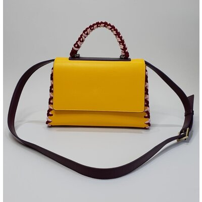 Bolsa Emilio Pucci Shoulder em Couro Amarelo/Bordô.