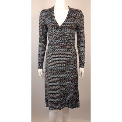 Vestido Diane Von Furstenberg Lã Marrom Azul