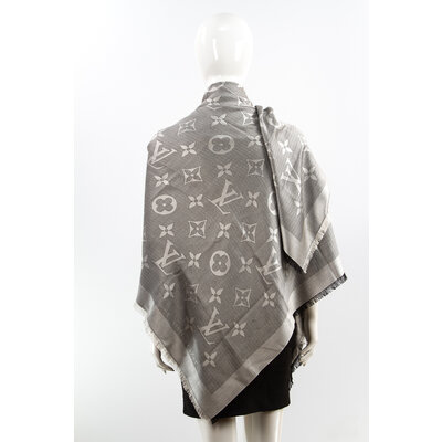 Xale Louis Vuitton Seda/Lã Cinza Monograma