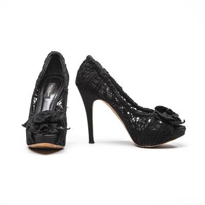 Peep Toe Dolce & Gabbana com renda preto