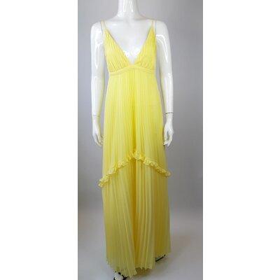 Vestido Adriana Degreas Musseline Plissado Amarelo